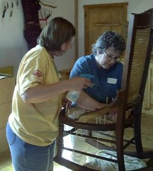 Cathryn Peters teaching chair caning class