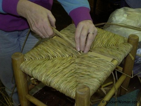 Hand-twisted natural bulrush seatweaving