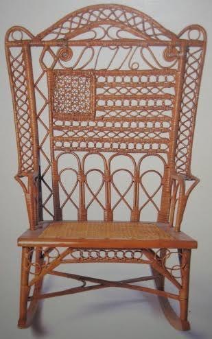 Victorian wicker rocker 1776 motif
