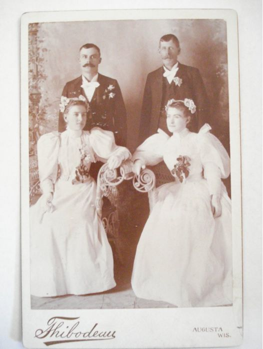 cabinet cards-two couples posing on wicker chairs