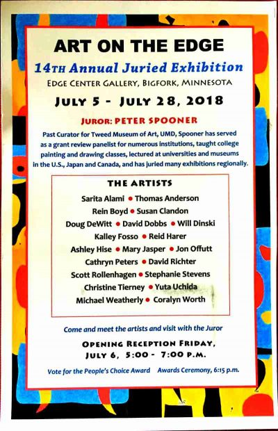 14th Art on the Edge Juried Exhibit Bigfork, MN 2018