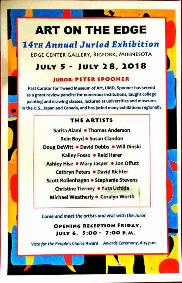 14th Art on the Edge Juried Exhibit Bigfork, MN 2018