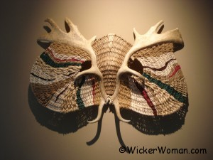 Asian Warrior Antler Wall Basket-Sculpture