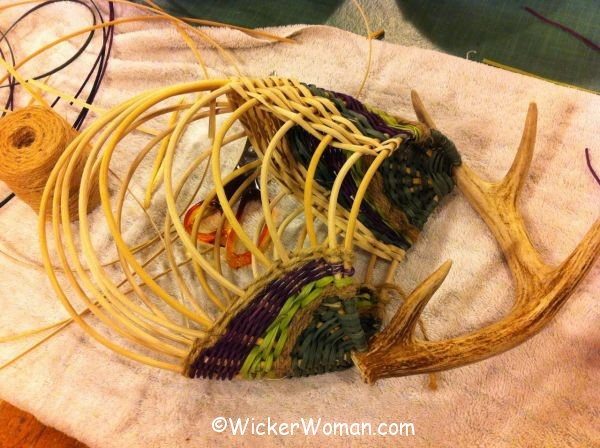 Barb antler basket progress