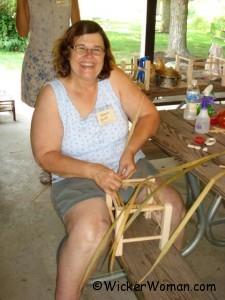 Bonnie Krist weaving a rush footstool-TSWG