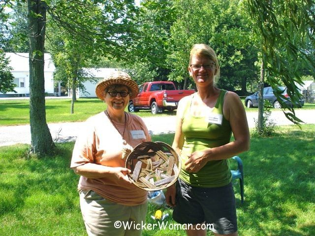 Cathryn with willow basketmaking teacher Anne Metta Hjornholm