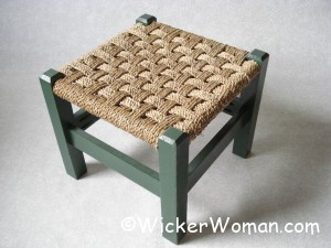 checkerboard seagrass footstool