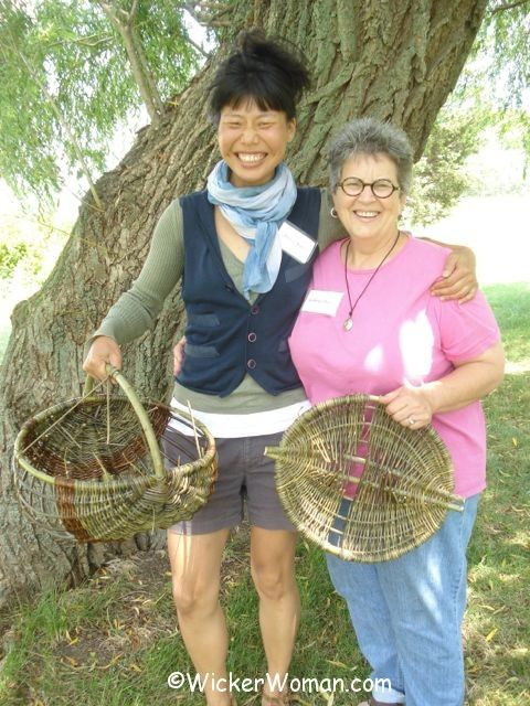 Donna Kim and Cathryn Peters weaving willow baskets