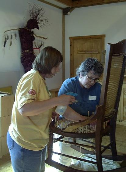Peters teaching chair caning class