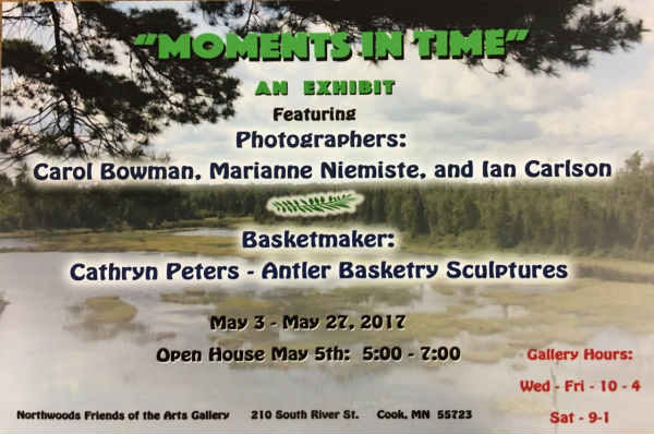 Moments in Time, photography and antler basket exhibit and sale NWFA Gallery 5-2017