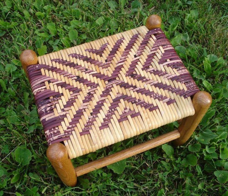 diagonal cross cane footstool