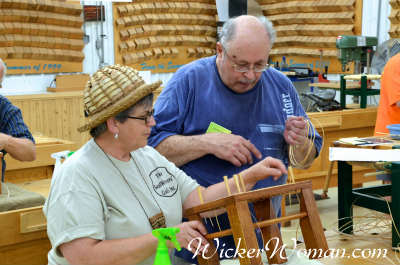 Cathryn teaching Chair Caning Class at Marc Adams School of Woodworking, IN