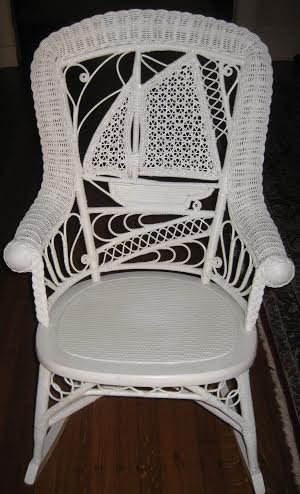 Sailboat motif Victorian wicker back