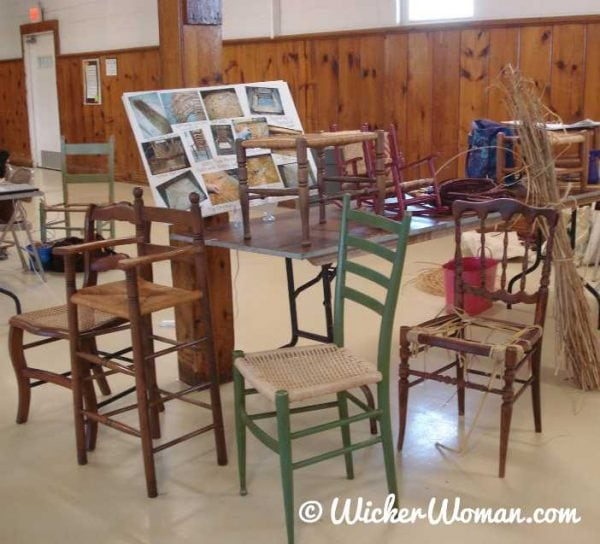 Cathryn Peters discusses various types of chair seat weaving patterns