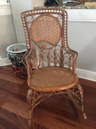 Japanese fan motif Victorian wicker rocker