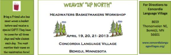 Weavin' Up North Basket Workshop Brochure 2013