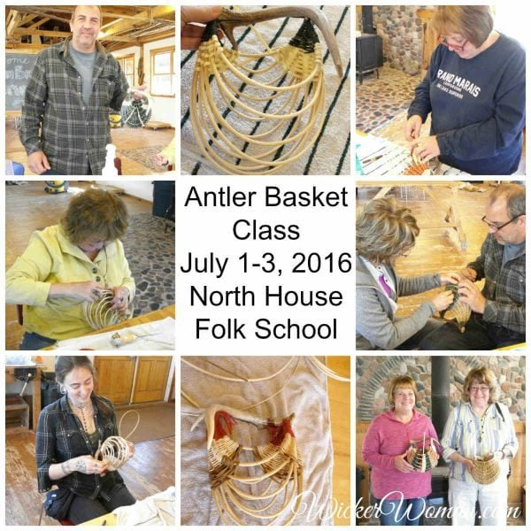 Antler basket class at North House Folk School with instructor Cathryn Peters