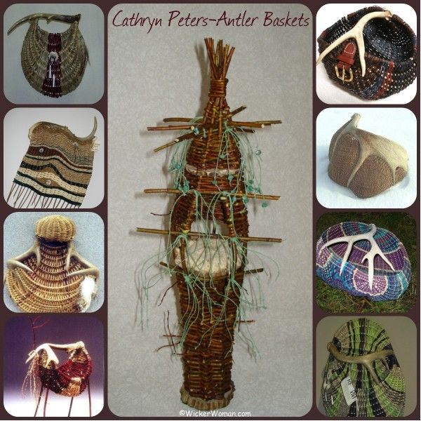 Collage of antler basket sculptures woven by contemporary basketmaker, Cathryn Peters