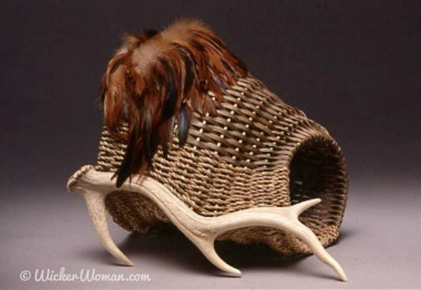 """Hunter's Cornucopia"" Antler Basket 1993 by Cathryn Peters"