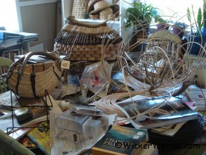 antler basket weaving table