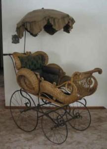 Victorian wicker perambutator