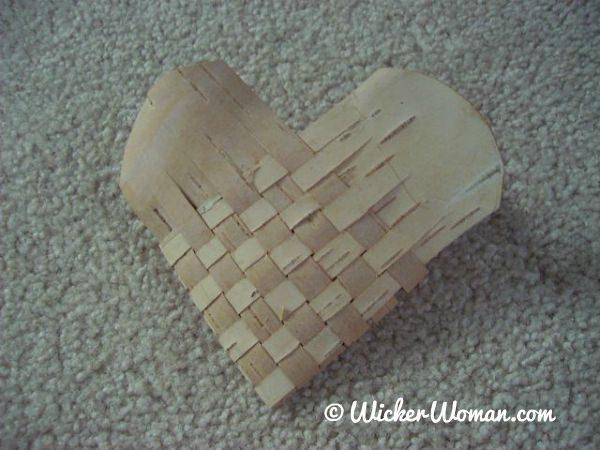 woven birch bark heart basket-Peters