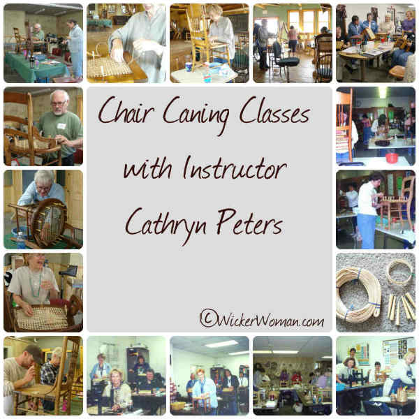 Instructor Cathryn Peters helps students learn the basics of chair seat weaving