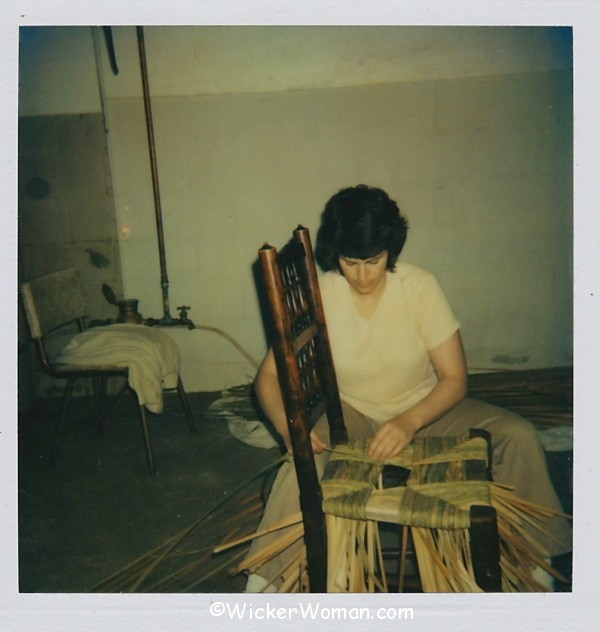 Cathryn Peters weaving natural cattail rush seat 1982