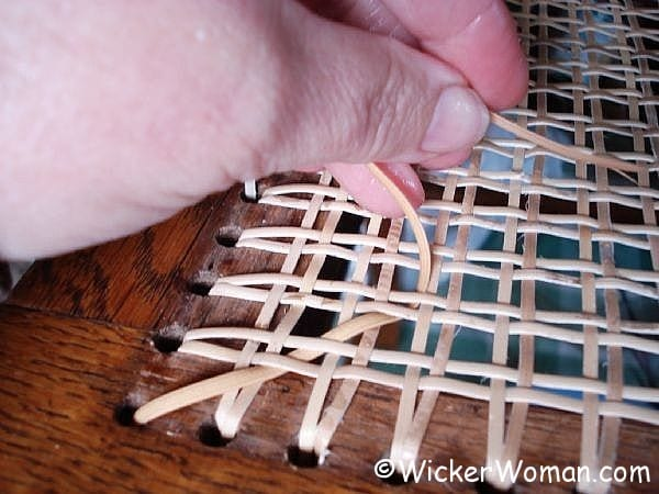 chair caning step 5 first diagonal & Chair Caning Instructions | How-to Cane Chairs by Hand
