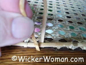 How to apply the final chair caning step-binder cord