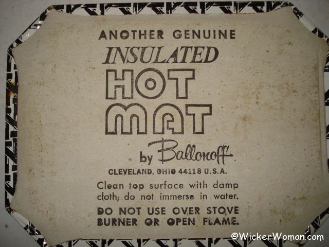 the manufacturer's label for the vintage insulated hot mat by Ballonoff