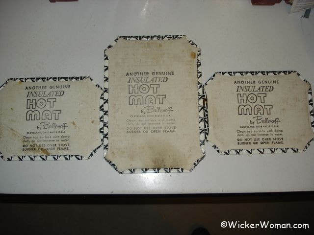 Backs of the vintage three piece set of cane motif hot mats Ballonoff, Cleveland, OH