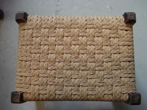 checkerboard paper wicker braid stool
