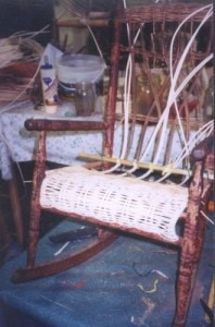 child wicker rocker during repair