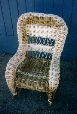 Child's wicker rocker repaired, but before painting.