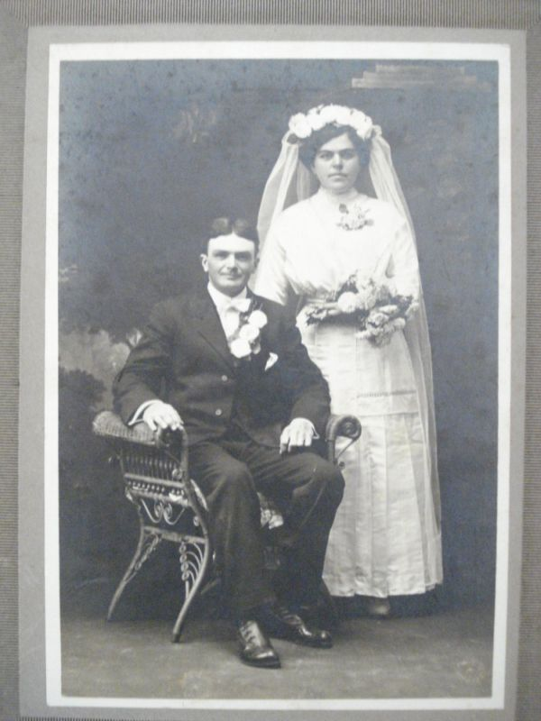 Wedding picture wicker cabinet card