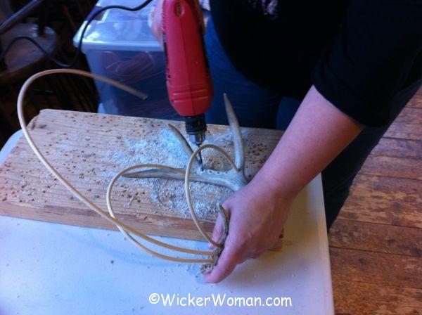 drilling antlers for spoke holes