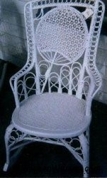 Victorian fan back wicker rocker