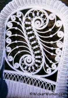Fancy Victorian wicker back with curlicues and beads