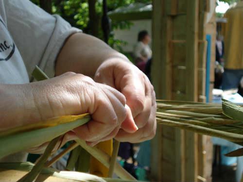 hand-twisting cattail rush seat