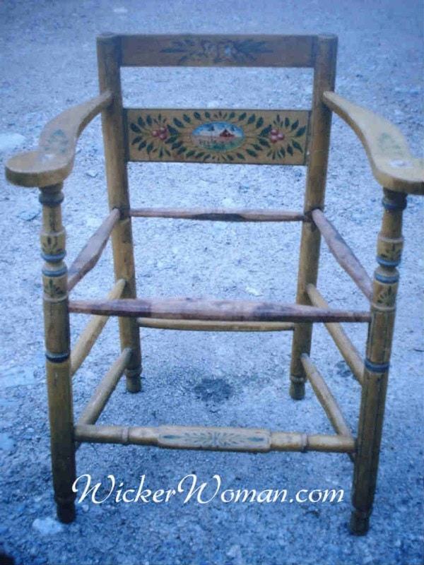 handpainted Norwegian rush chair frame