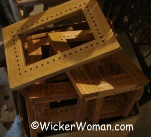 hole cane stool frames