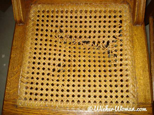 Method of chair caning was not followed on this cane seat was it