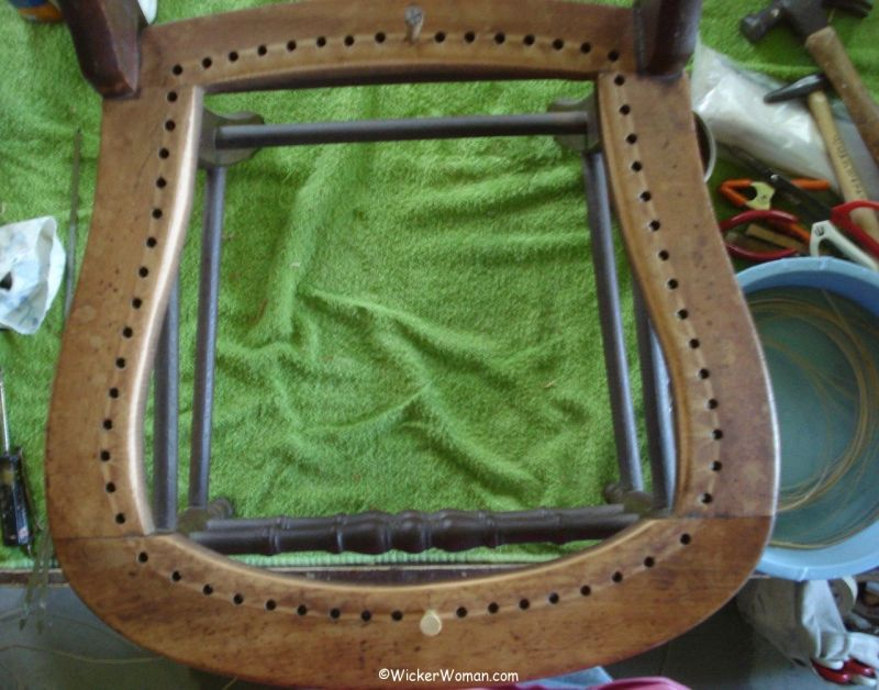 hole cane seat cleared of cane and edge beveled