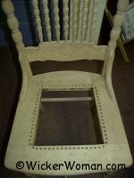 Traditional chair caning-drilled holes in chair