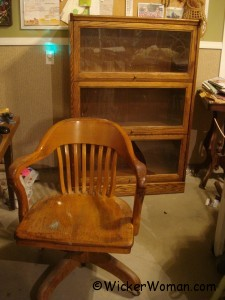 oak office chair and bookcase