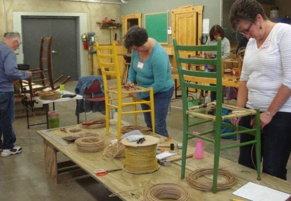 paper rush seat weaving class 8-15