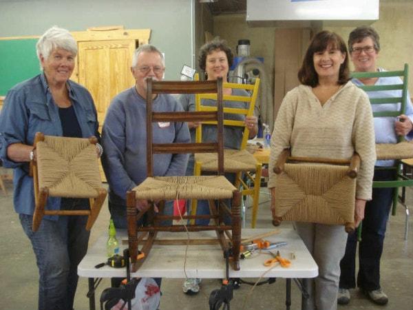 paper rush seat weaving class NH 8-15