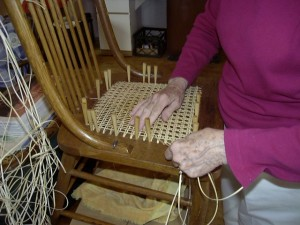 Hole-to-hole chair caning