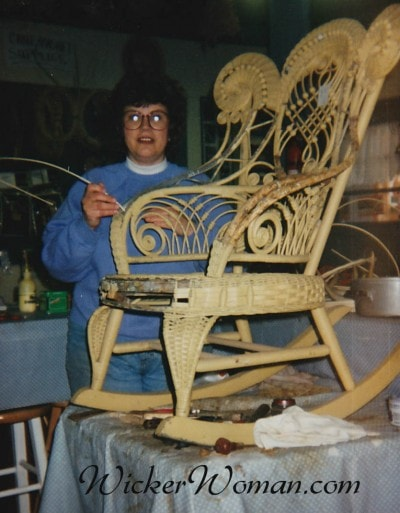 Peters repairing wicker rocker